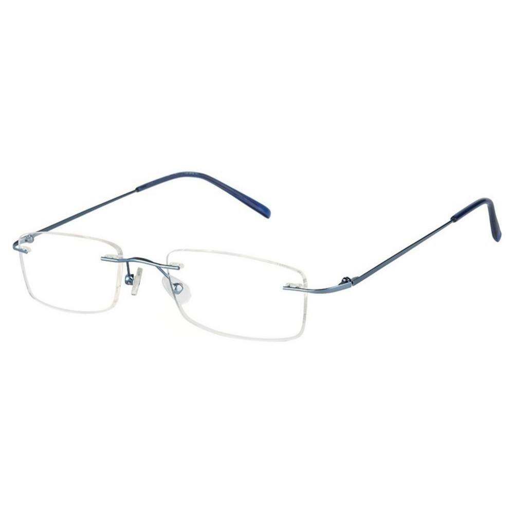 Blue Rimless Computer Glasses with Anti Glare Coating - GlassesIndia