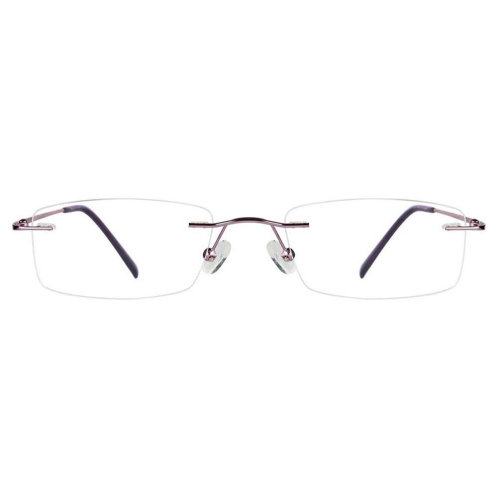 Purple Rimless Computer Glasses with Anti Glare Coating - GlassesIndia