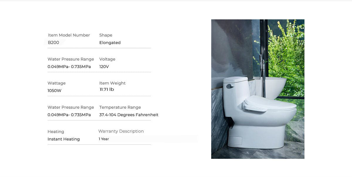 mordeer b200 elongated bidet instant heating, high water pressure, voltage 120V, 1 year warranty