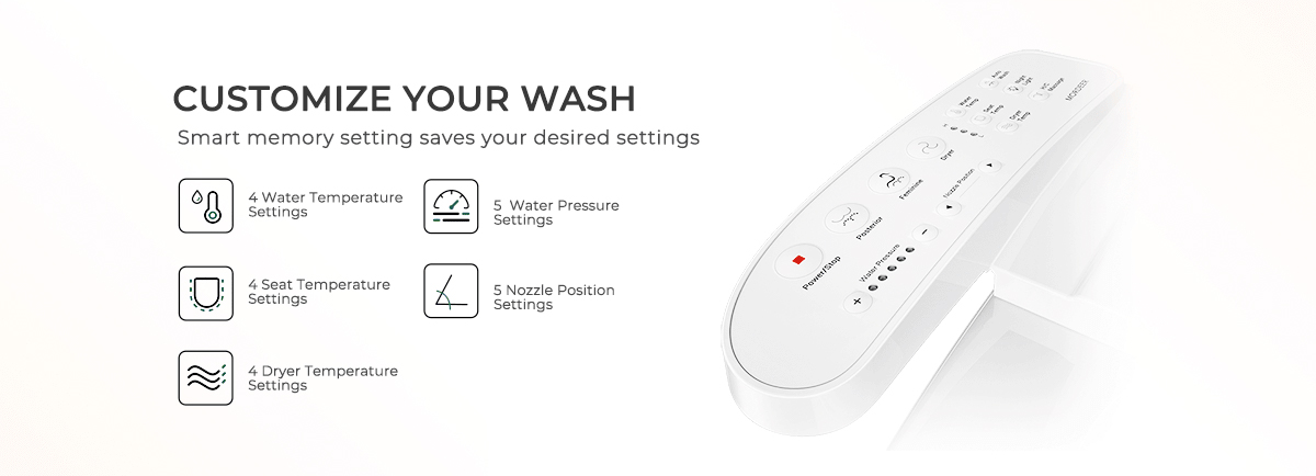 mordeer c600 heated bidet seat with 4 level water temperature, 5 water pressure, 4 level seat temperature,4 dryer temperature and 5 nozzle position settings