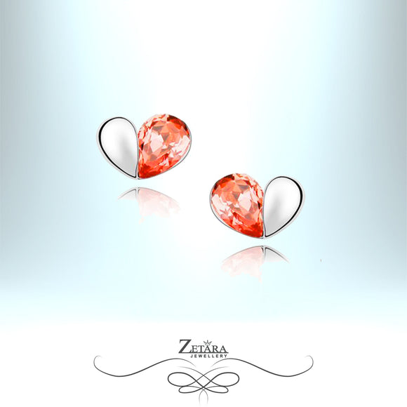 Sunrise Garnet Heart Crystal Earrings