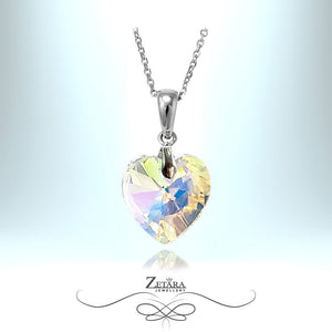 "L'amour Czech Crystal Collection -""Love of the See""Clear Crystal Heart Necklace - Sterling Silver"