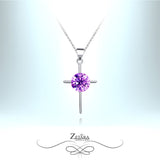 Amethyst Crystal Silver Cross Necklace