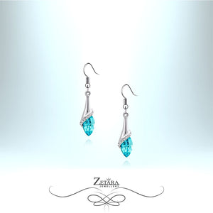 Capri Crystal Drop Earrings - Aquamarine