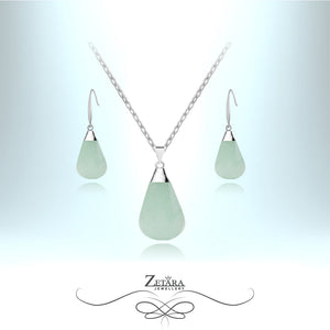 Light Aventurine Natural Stone Set (Silver) - Birthstone for August