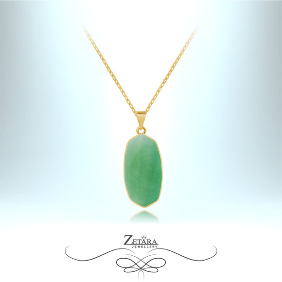Aventurine Natural Stone Necklace (Gold) - Birthstone for August