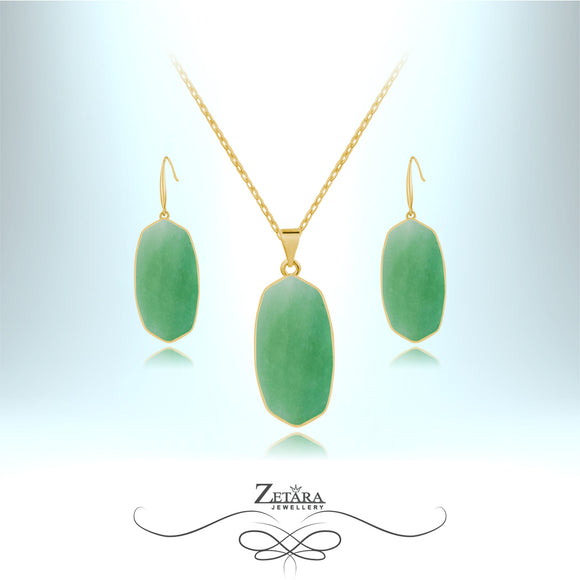 Aventurine Natural Stone Set (Gold) - Birthstone for August