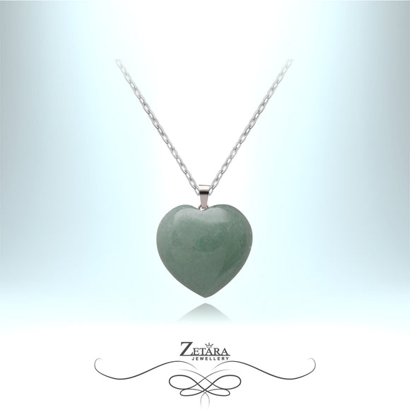 Green Aventurine Heart Necklace - Birthstone for August