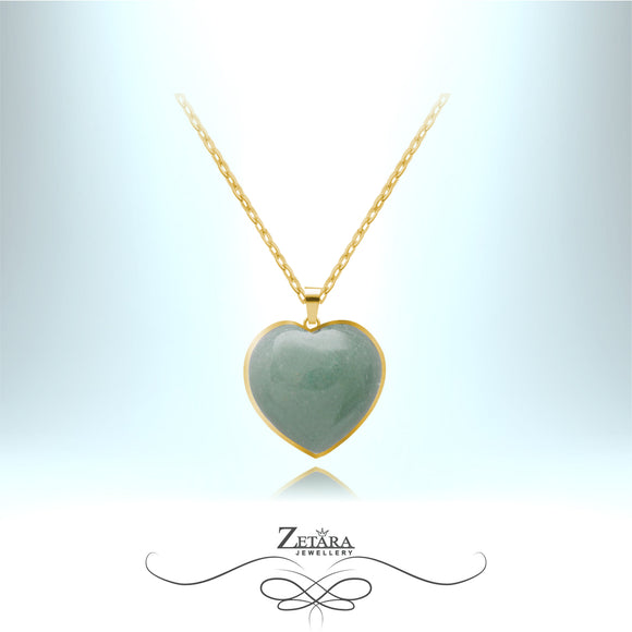 Green Aventurine Heart Necklace (Gold Frame) - Birthstone for August