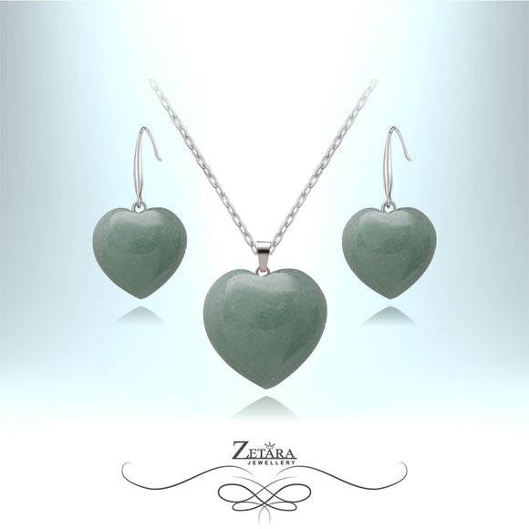 Green Aventurine Heart Set - Birthstone for August