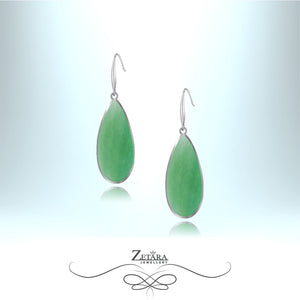 Aventurine Natural Stone Earrings (Silver) - Birthstone for August