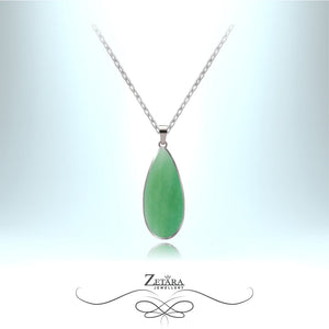 Aventurine Natural Stone Necklace (Silver) - Birthstone for August