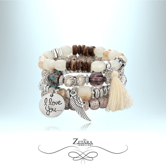 Katerina Vintage Crystal Bracelet - I Love You - Cream