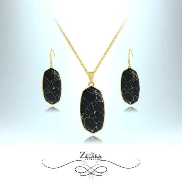 Natural Black Howlite Set (Gold)