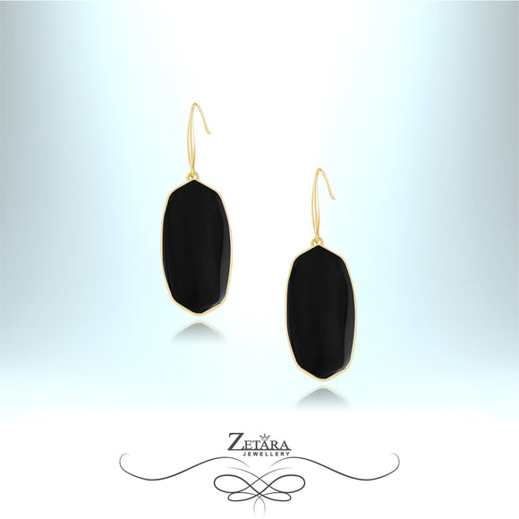 Natural Black Obsidian Earrings (Gold) - Birthstone for Scorpio