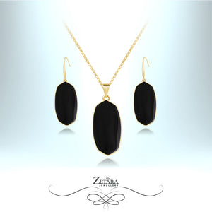 Natural Black Obsidian Set (Gold) - Birthstone for Scorpio