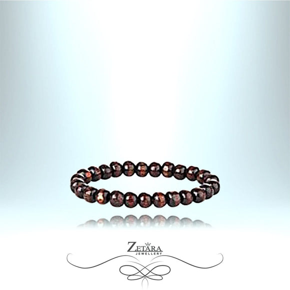 Zetara MAN - Tibetan Prayer Round Bead Bracelet - Dark Brown