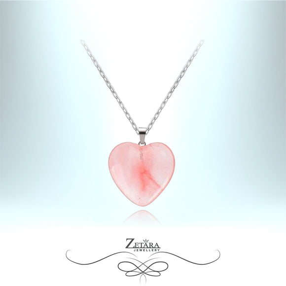 Natural Cherry Quartz Heart Necklace