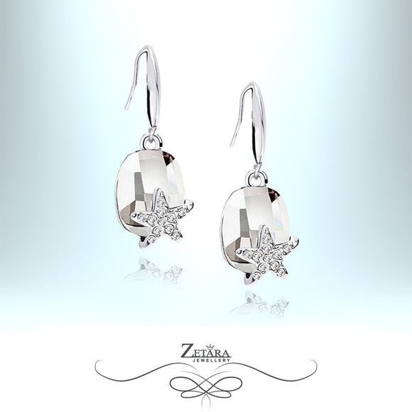Ocean Star Crystal Earrings - Clear Crystal