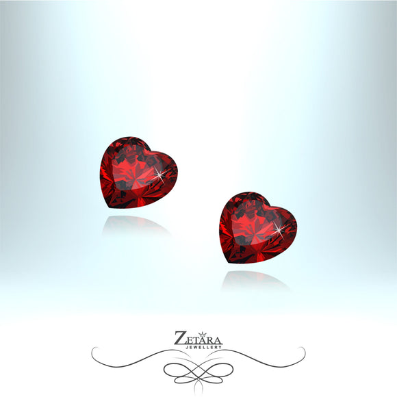 Czech Crystal Ruby Heart Earrings