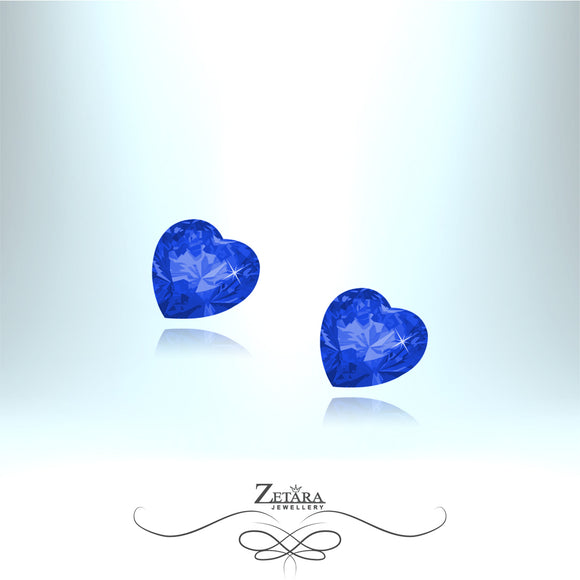 Czech Crystal Sapphire Heart Earrings