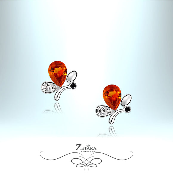 Sunrise Garnet Crystal Butterfly Earrings