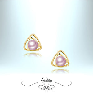Freshwater Rose Gold Pearl Earrings - Gold