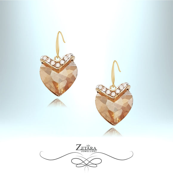 Sweet Honey Heart Crystal Earrings - Citrine