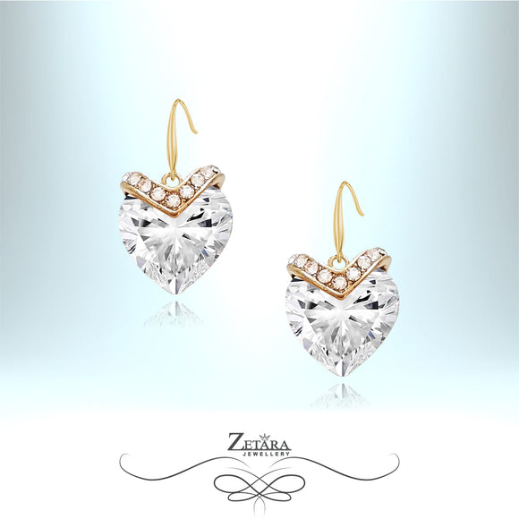 Nights in White Satin Crystal Heart Earrings