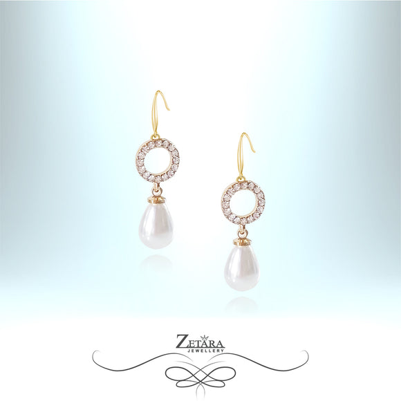 New Luck-Italian Crystal Earrings - Freshwater White Pearl