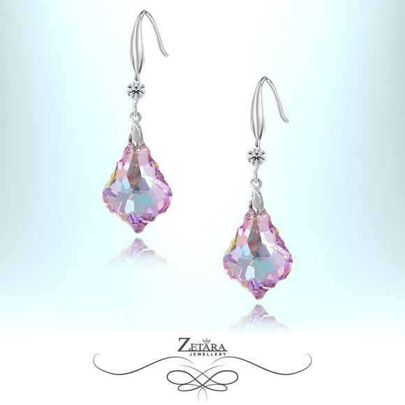 L'amour Czech Crystal Collection -Winsor Liolet Crystal Leaf Earrings - Sterling Silver