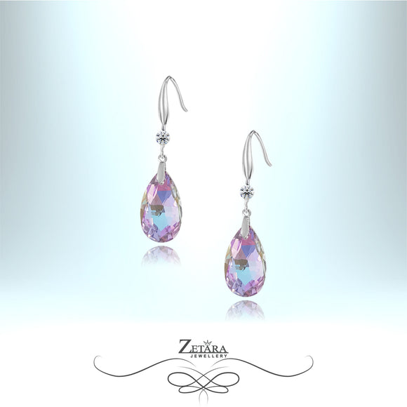 L'amour Czech Crystal Collection -Windsor Violet Raindrop Earrings - Sterling Silver