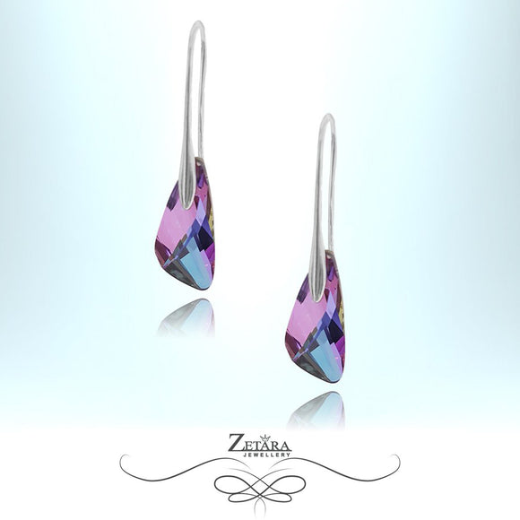 L'amour Czech Crystal Collection -Winsor Liolet Ice Earrings - Sterling Silver