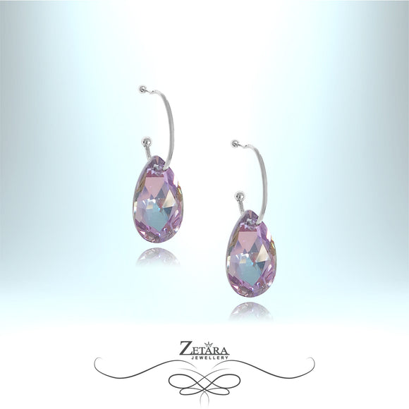 L'amour Czech Crystal Collection -Winsor Liolet Drop Earrings - Sterling Silver
