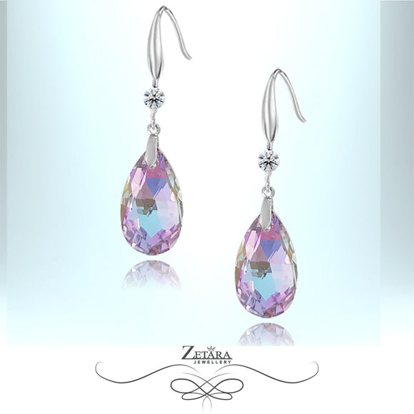 L'amour Czech Crystal Collection -Windsor Violet Raindrop Deluxe Earrings-Sterling Silver