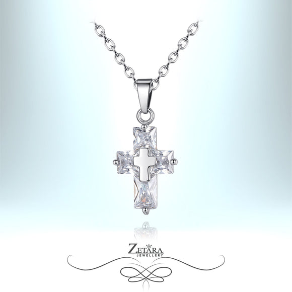 Czech Crystal Angel Cross Necklace