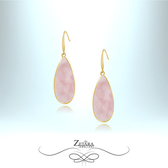 Rose Quartz Earrings (Gold Frame) - Birthstone for January