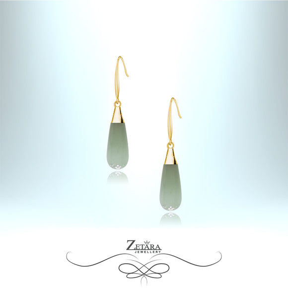 Aventurine Natural Stone Earrings (Gold) - Birthstone for August