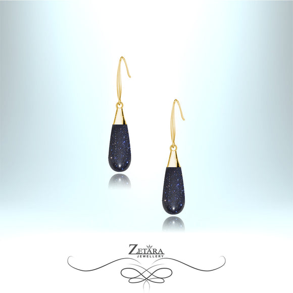 Blue Sandstone Earrings - Gold
