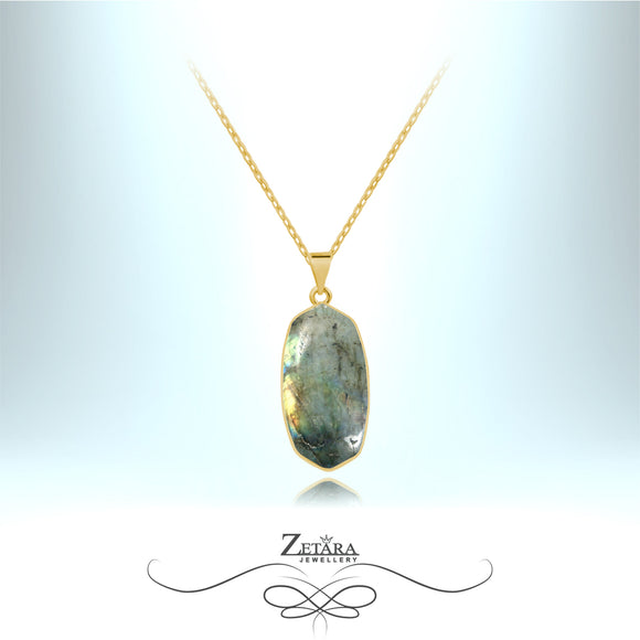 Natural Labradorite Stone Necklace (Gold) - Birthstone for February and March