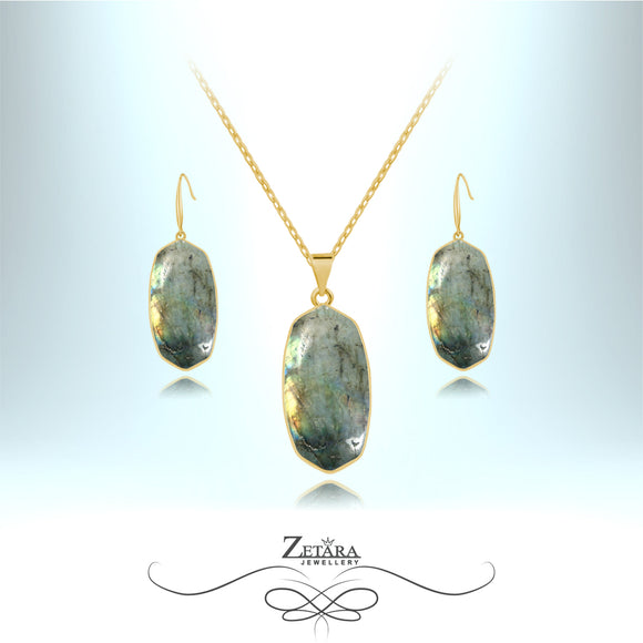 Natural Labradorite Stone Set (Gold) - Birthstone for February and March