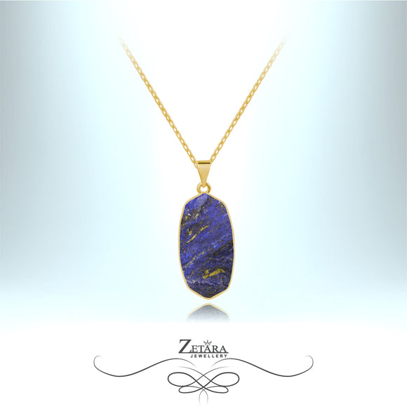 Lapis Lazuli Stone Necklace (Gold) - Birthstone for December