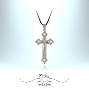 Zetara MAN - Fleurette Cross Neck Chain - Silver