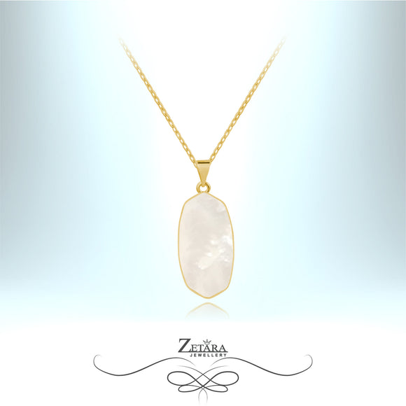 Mother of Pearl White Shell Necklace (Gold) - Birthstone for June