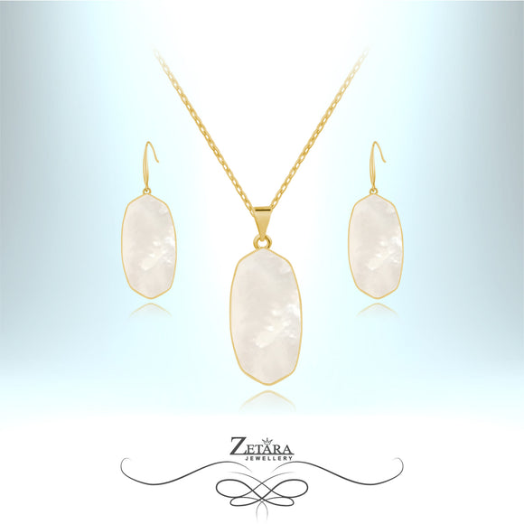 Mother of Pearl White Shell Set (Gold) - Birthstone for June