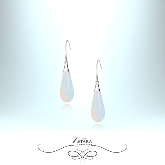 Natural Moonstone Earrings (Silver) - Birthstone for June