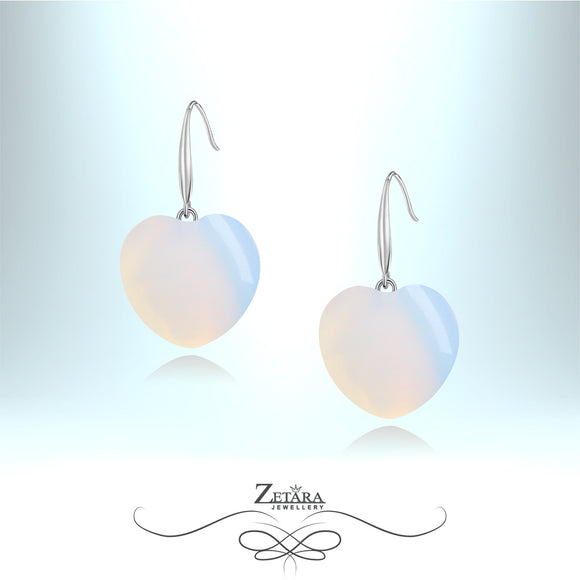 Natural Moonstone Heart Earrings - Birthstone for June
