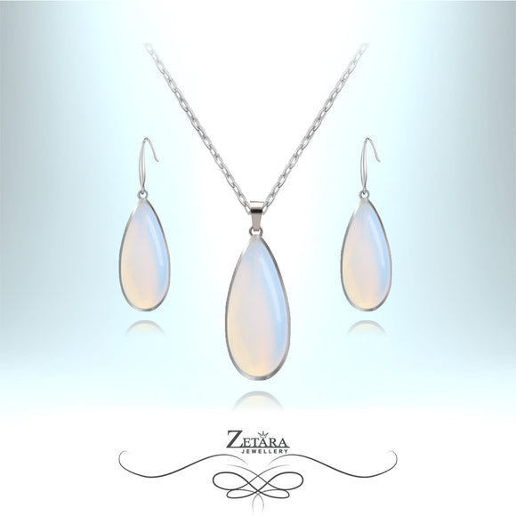Natural Moonstone Set (Silver Frame) - Birthstone for June