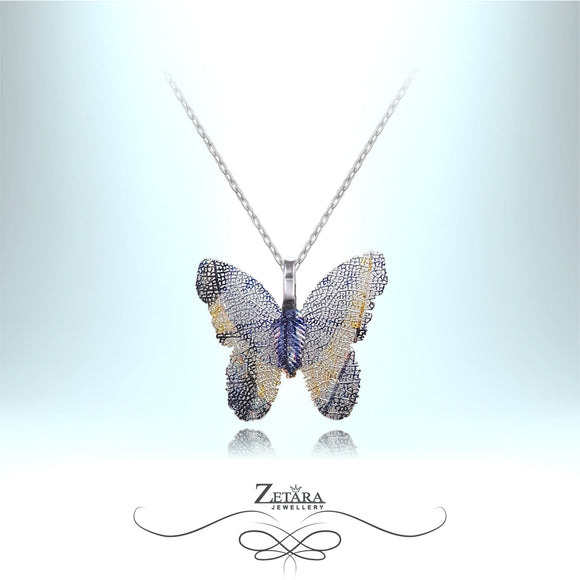 Butterfly Necklace - Sky Blue