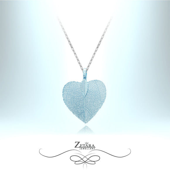 Flora Collection Cordate Leaf Necklace (S) - Baby Blue